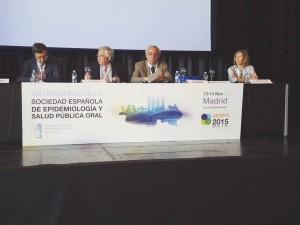 De izda. a dcha., los doctores Eduardo Bratos, Jesús Rueda, José Carlos de la Macorra y Rosario Garcillán, durante la jornada de inauguración del XXI Congreso de la SESPO.