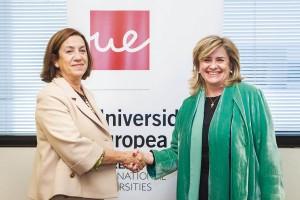 Olga San Román, directora general de Procoven -izda.-, y Elena Gazapo, decana de la Facultad de Ciencias de la Salud y Biomédicas de la UE.