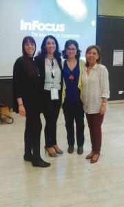 Eva López de Castro, presidenta de HIDES Castilla y León (segunda por la izquierda), junto a las primeras ponentes: Eva María Rueda, Natalia Martín-Rubio y Susana Cruz.