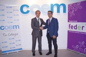 El Dr. Antonio Montero y Juan Carrión, presidentes del COEM y FEDER, respectivamente.