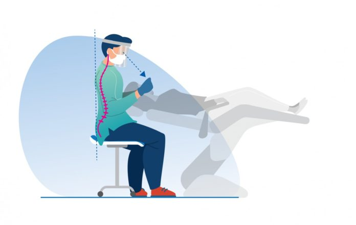 Gráfismo que representa una buena postura para profesionales dentales