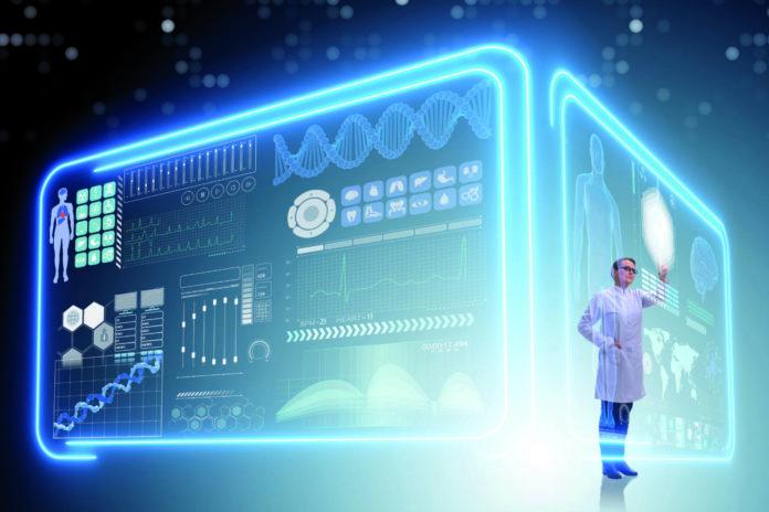 Imagen de una doctora usando telemedicina para la recuperación del sector sanitario