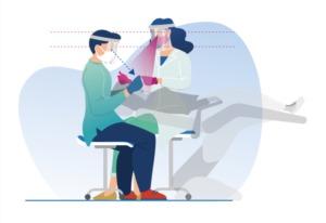 Ilustración de la buena postura para profesionales dentales durante el tratamiento