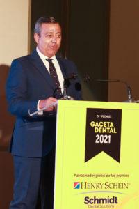 Dr. Óscar Castro Reino, presidente del Consejo General de Dentistas durante su discurso en los Premios Gaceta Dental 2021