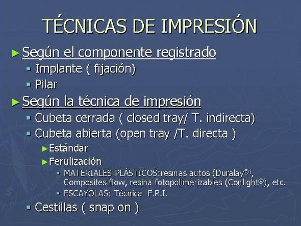 Impresiones en implantes: técnicas de ferulización